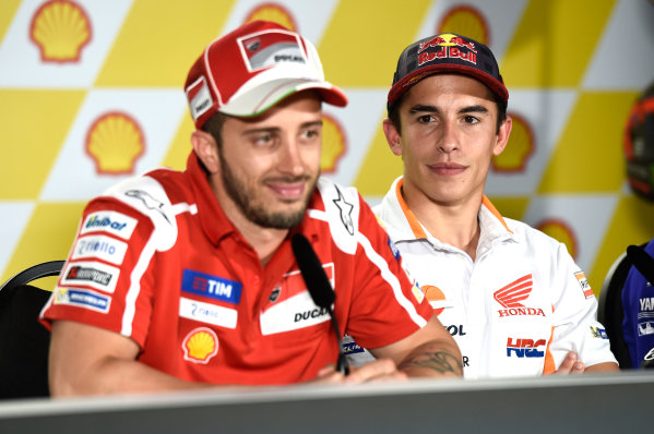 2017 MotoGP Championship - Round 17 Sepang, Malaysia. Thursday 26 October 2017 Marc Marquez, Repsol Honda Team, Andrea Dovizioso, Ducati Team World Copyright: Gold and Goose / LAT Images ref: Digital Image 701408