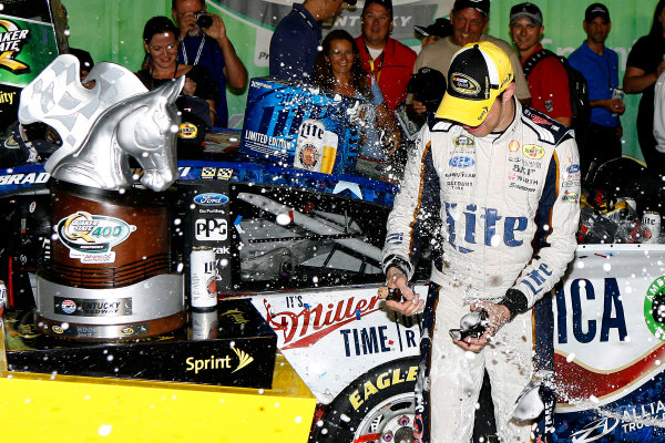 27-28 June, 2014, Sparta, Kentucky USA Brad Keselowski celebrates in victory lane ?2014, Russell LaBounty LAT Photo USA