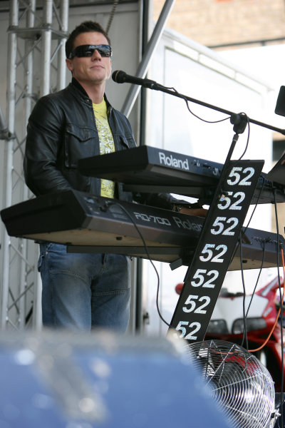 Donington Park, England. 18th June 2008.Preview Day.James Toseland plays keyboards with his band 'Crash' for the Donington Park crowd.World Copyright: Martin Heath/ LAT Photographicref: Digital Image