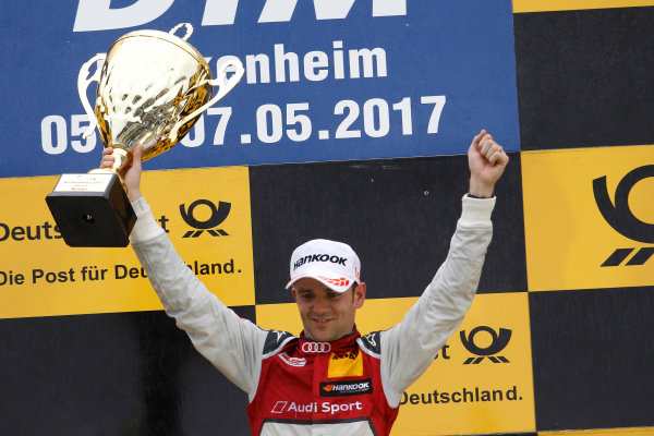 2017 DTM Round 1 Hockenheim, Germany. Sunday 7 May 2017. Podium: Race winner Jamie Green, Audi Sport Team Rosberg, Audi RS 5 DTM World Copyright: Alexander Trienitz/LAT Images ref: Digital Image 2017-DTM-R1-HH-AT1-3712