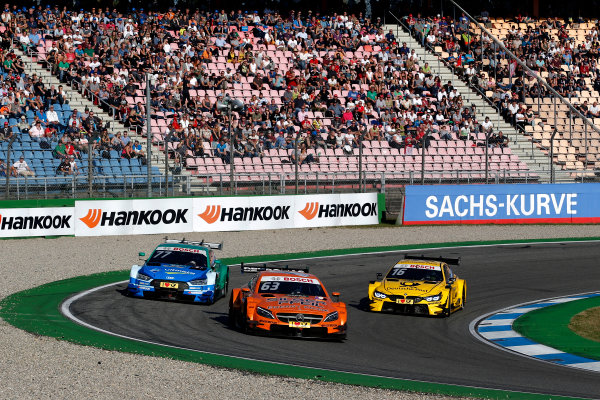 2017 DTM Round 9  Hockenheimring, Germany  Sunday 15 October 2017. Maro Engel, Mercedes-AMG Team HWA, Mercedes-AMG C63 DTM, Loic Duval, Audi Sport Team Phoenix, Audi RS 5 DTM, Timo Glock, BMW Team RMG, BMW M4 DTM  World Copyright: Alexander Trienitz/LAT Images ref: Digital Image 2017-DTM-HH2-AT2-1732