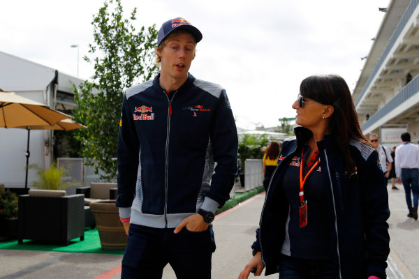 Circuit of the Americas, Austin, Texas, United States of America. Thursday 19 October 2017. Brendon Hartley, Toro Rosso, in the paddock. World Copyright: Steven Tee/LAT Images  ref: Digital Image _O3I0867