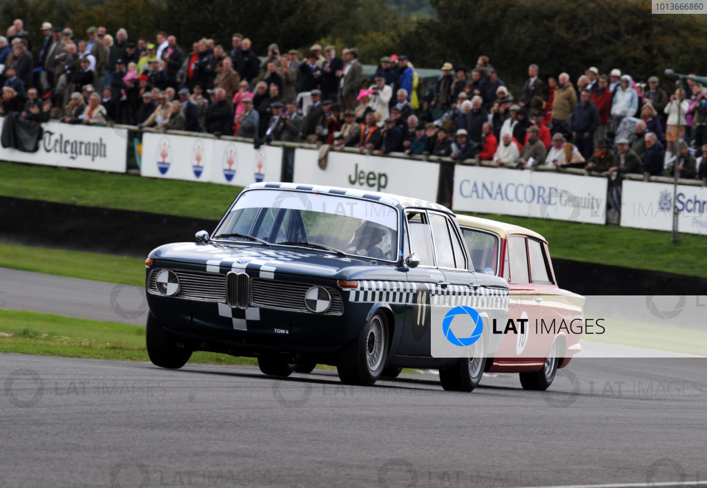 Goodwood Estate, West Sussex, 15th - 18th September 2011 St Mary's Trophy Race 2 Richard POSTINS, BMW 1800 TiSA, leads Henry MANN, Ford-Lotus Cortina Mk1. World Copyright:Jeff Bloxham/LAT Photographic Ref: Digital Image