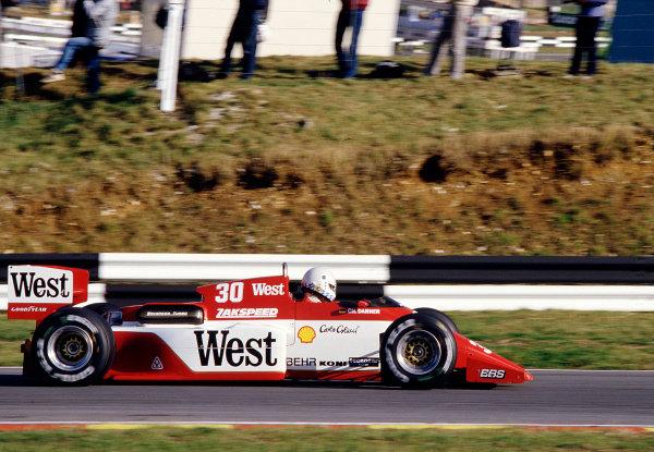 1985 European Grand Prix.Brands Hatch, England.4-6 October 1985.Christian Danner (Zakspeed 841).  Ref: 85EUR42. World Copyright - LAT Photographic