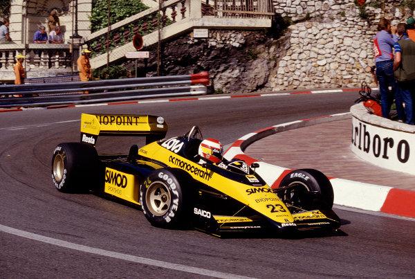 1987 Monaco Grand Prix. Monte Carlo, Monaco. 28th - 31st May 1987.  Adrian Campos (Minari M187 Motori Moderni) at Loews Hairpin, action. Ref-87 MON 52.World Copyright - LAT Photographic