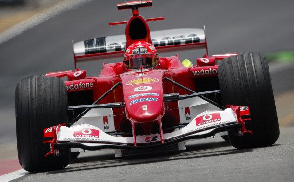 2004 Brazilian Grand Prix - Friday Practice,Interlagos, Sao Paulo, Brazil. 22nd October 2004 Michael Schumacher, Ferrari F2004, action.World Copyright: Steve EtheringtonLAT Photographic ref: Digital Image Only