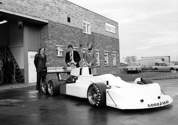 Robin Herd (GBR) March Designer (Centre) and Max Mosley (GBR) March Co-Owner (Right) with thieir new 6 wheeled creation, the March 2-4-0.