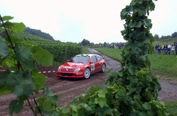 Sebastien Loeb (FRA) Citroen Xsara WRC.World Rally Championship, Rd10, Shakedown, ADAC Rallye Deutschland, Trier, Germany. 22 August 2002.DIGITAL IMAGE