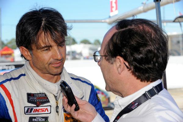 12-15 March, 2014, Sebring, Florida, USA #5, Chevrolet, Corvette DP, P, Christian Fittipaldi is interviewed by IMSA's  J. J. O'Mally ©2014, F. Peirce Williams LAT Photo USA