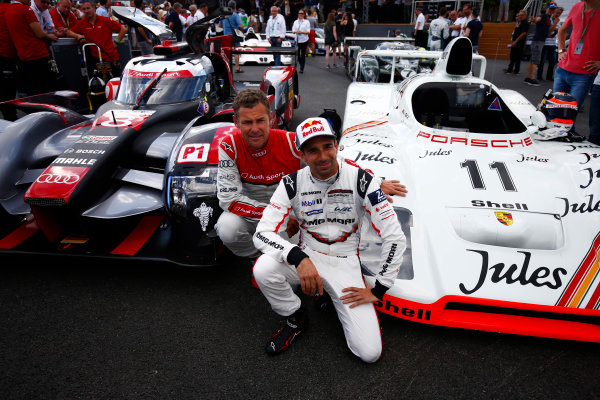 Red Bull Ring, Spielberg, Austria. Saturday 08 July 2017. Tom Kristensen and Neel Jani at the Legends Parade. World Copyright: Andy Hone/LAT Images ref: Digital Image _ONZ0770