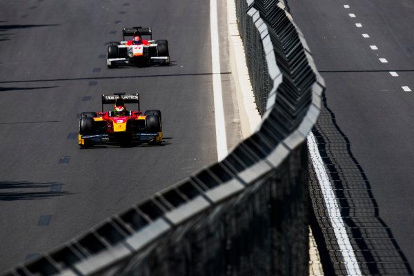 2017 FIA Formula 2 Round 4. Baku City Circuit, Baku, Azerbaijan. Friday 23 June 2017. Louis Deletraz (SUI, Racing Engineering), Ralph Boschung (SUI, Campos Racing)  Photo: Zak Mauger/FIA Formula 2. ref: Digital Image _54I9620