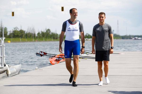 Circuit Gilles Villeneuve, Montreal, Canada. Thursday 8 June 2017. Performance engineer Tom Stallard, and Stoffel Vandoorne, McLaren, prepare to go rowing. World Copyright: Steven Tee/LAT Images ref: Digital Image _O3I7178