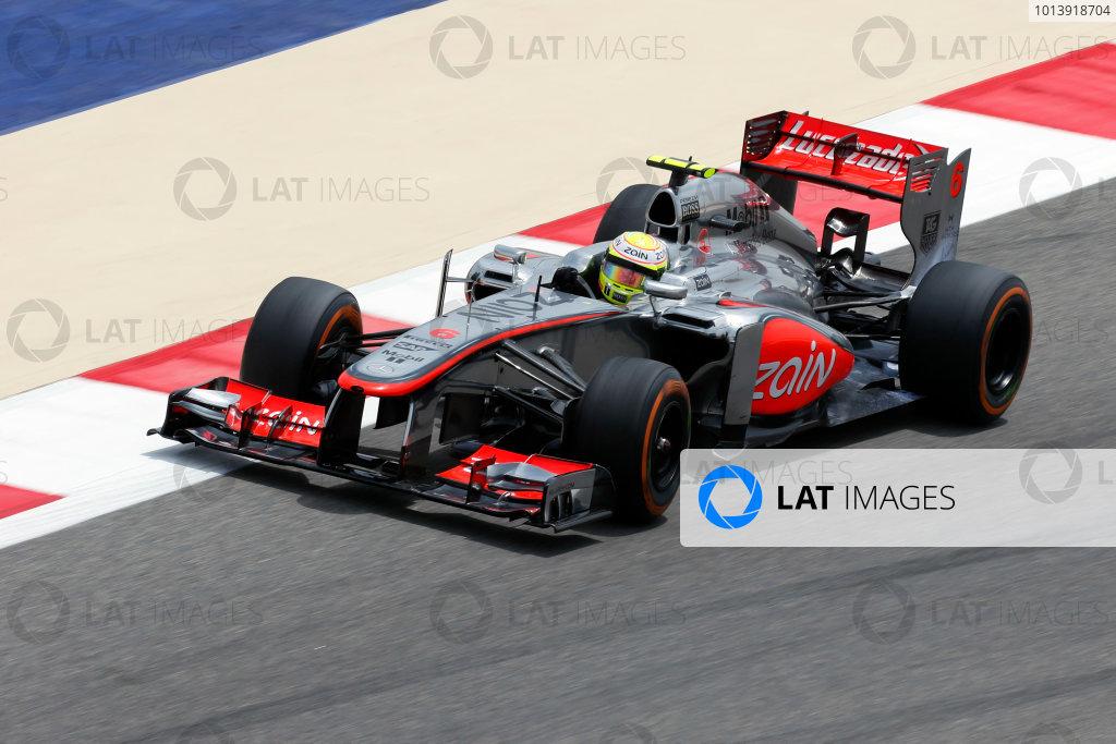 Bahrain International Circuit, Sakhir, Bahrain Friday 19th April 2013 Sergio Perez, McLaren MP4-28 Mercedes.  World Copyright: Charles Coates/LAT Photographic ref: Digital Image _N7T0235