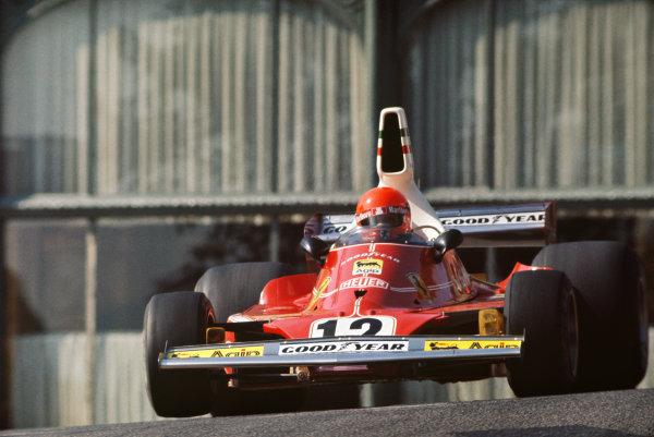1975 Monaco Grand Prix  Monte Carlo, Monaco. 8-11th May 1975.  Niki Lauda, Ferrari 312T, 1st position, at Casino Square.  Ref: 75MON05. World copyright: LAT Photographic