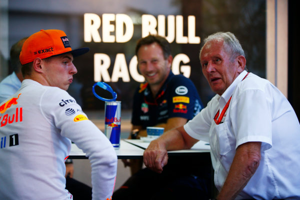 Sepang International Circuit, Sepang, Malaysia. Saturday 30 September 2017. Max Verstappen, Red Bull Racing, Christian Horner, Team Principal, Red Bull Racing and Helmut Markko, Consultant, Red Bull Racing, relax after qualifying. World Copyright: Andy Hone/LAT Images  ref: Digital Image _ONZ9812