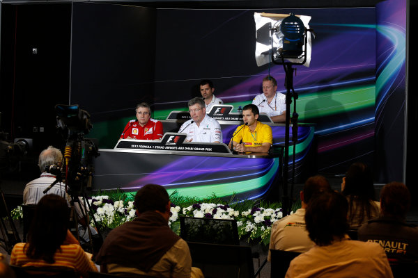 Yas Marina Circuit, Abu Dhabi, United Arab Emirates Friday 2nd November 2012. Pat Fry, Director of Chassis, Scuderia Ferrari, Ross Brawn, Team Principal, Mercedes AMG F1, Remi Taffin, Head of Track Operations, Renault Sport F1, Tony Cuquerella, Team Principal, HRT, and Andrew Green, Technical Director, Force India, in the Press Conference.  World Copyright:Charles Coates/  ref: Digital Image _N7T1399