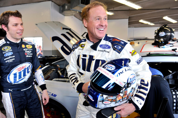 9-10 January 2014, Daytona Beach, Florida, USA Brad Keselowski and Rusty Wallace ©2014, Nigel Kinrade LAT Photo USA