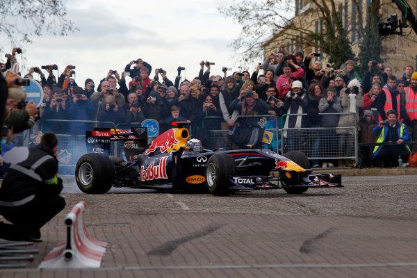 Milton Keynes.  Saturday 10th December 2011.Sebastian Vettel, Red Bull Racing RB7 Renault in action during the Red Bull Racing home run.Photo: LAT Photographic.Ref: Digital Image _Q0C6876 jpg