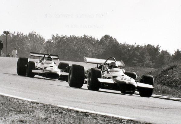 1969 United States Grand Prix Watkins Glen, United States. 5 October 1969 Piers Courage, Brabham BT26-Ford, 2nd position, leads Jack Brabham, Brabham BT26-Ford, 4th position, action World Copyright: LAT PhotographicRef: b&w print