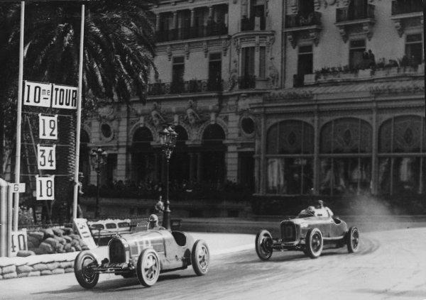 """Monte Carlo.14 April 1929.""""Georges Philippe"""" (real name Baron de Rothschild, Bugatti T35C) leads Guglielmo Sandri (Maserati T26) in Casino Square. """"Philippe"""" finished in 4th position.Published-Autocar 26/4/1929 p839.World Copyright - LAT Photographic"""