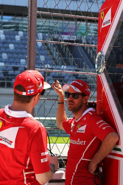 Sochi Autodrom, Sochi, Russia. Thursday 27 April 2017. Kimi Raikkonen, Ferrari. and Sebastian Vettel, Ferrari.  World Copyright: Coates/LAT Images ref: Digital Image DJ5R0125