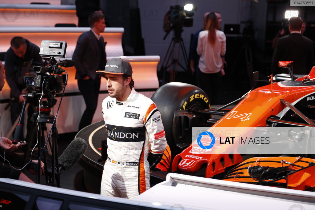 McLaren MCL32 Honda Formula 1 Launch. McLaren Technology Centre, Woking, UK. Friday 24 February 2017. Fernando Alonso, McLaren, is interviewed by the media. World Copyright: Glenn Dunbar/LAT Images Ref: _31I9605