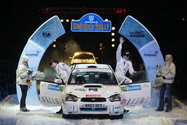 2004 FIA World Rally Champs. Round two, Swedish Rally.5th-8th February 2004.Alister McRae, Subaru, podiumWorld Copyright: McKlein/LAT