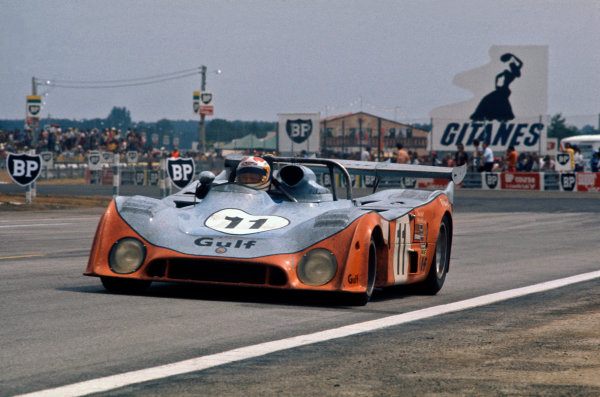 Le Mans, France. 15-16 June 1974 Derek Bell/Mike Hailwood (Gulf GR7 Ford), 4th position, action. World Copyright: LAT PhotographicRef: 74LM44.