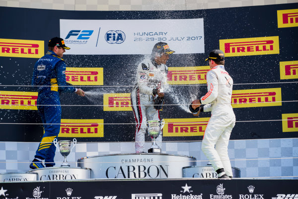2017 FIA Formula 2 Round 7. Hungaroring, Budapest, Hungary. Sunday 30 July 2017. Oliver Rowland (GBR, DAMS), Nobuharu Matsushita (JPN, ART Grand Prix), Nyck De Vries (NED, Rapax).  Photo: Zak Mauger/FIA Formula 2. ref: Digital Image _54I4962