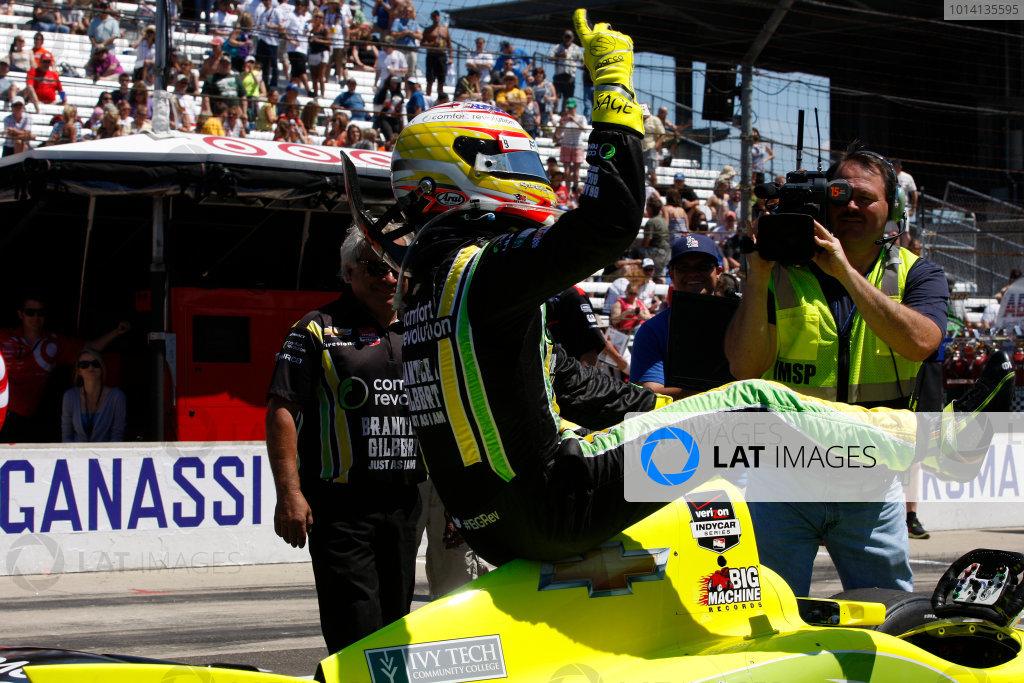 23 May, 2014, Indianapolis, Indiana, USA Sage Karam celebrates making it into the final round of the pit stop challenge ©2014, Phillip Abbott LAT Photo USA