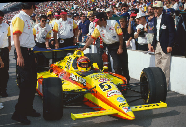 1992 Indianapolis 500. Indianapolis Motor Speedway, Indiana, USA. 24th May 1992. Gary Bettenhausen (Lola T9200-Buick), retired, in the pit lane, portrait, action. World Copyright: Steve Swope/LAT Photographic.