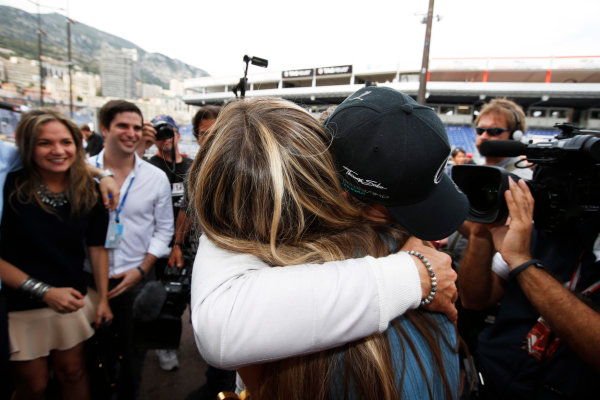 Monte Carlo, Monaco. Sunday 25 May 2014. Nico Rosberg, Mercedes AMG, 1st Position, celebrates with his team. World Copyright: Charles Coates/LAT Photographic. ref: Digital Image _N7T0258