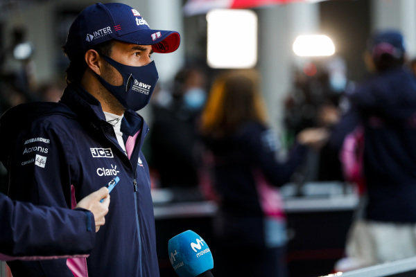 Sergio Perez, Racing Point, is interviewed after Qualifying in third position