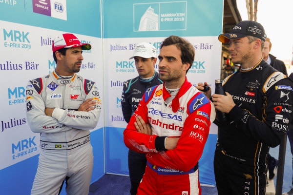 Lucas Di Grassi (BRA), Audi Sport ABT Schaeffler, Jérôme d'Ambrosio (BEL), Mahindra Racing, Mitch Evans (NZL), Panasonic Jaguar Racing, and Andre Lotterer (DEU), DS TECHEETAH, after Qualifying