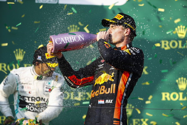 Max Verstappen, Red Bull Racing, 3rd position, drinks Champagne on the podium