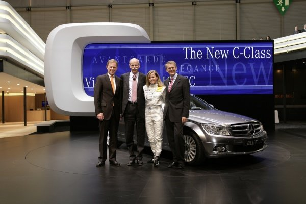 The new AMG-Mercedes C-Class DTM is launched at the Geneva Motor Show.L-R: Dr. Klaus Maier, Head of Sales and Marketing Mercedes Car Group; Dr. Dieter Zetsche, CEO of the DaimlerChrysler AG, Mercedes-Benz; DTM driver Susie Stoddart (GBR); Dr. Thomas Weber, Member of the Board Group Research & Mercedes Car Group Development.AMG-Mercedes C-Class Launch, Geneva Motor Show, Switzerland, 6 March 2007.DIGITAL IMAGE