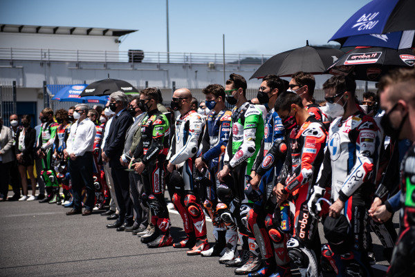 One minutes silence for the tragic death of Jason Dupasquier with all the WorldSBK riders, officials.