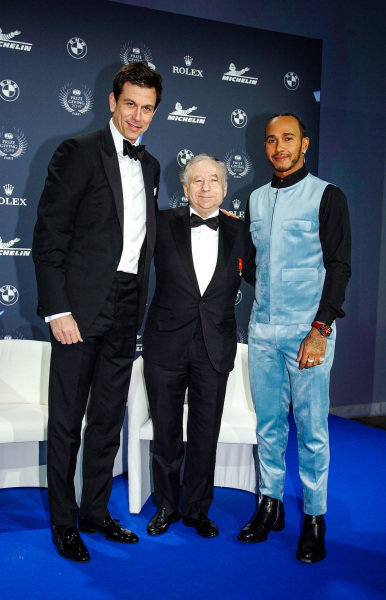 Toto Wolff, Executive Director (Business), Mercedes AMG, Jean Todt, President, FIA, and Lewis Hamilton, Mercedes AMG F1