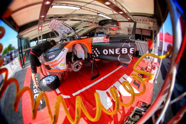 Mads Ostberg (NOR) / Ola Floene (NOR), M-Sport World Rally Team Ford Fiesta WRC service at World Rally Championship, Rd8, Rally Poland, Preparations and Shakedown, Mikolajki, Poland, 29 June 2017.