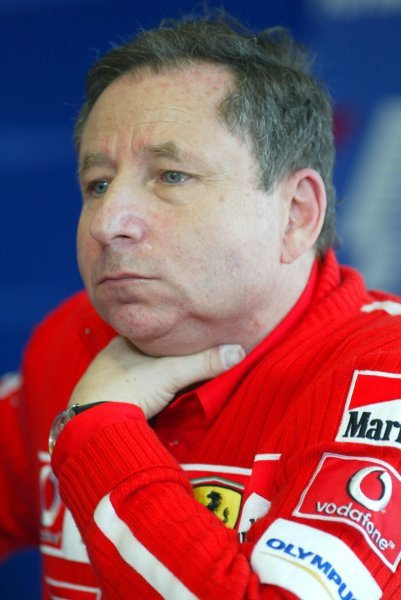 Jean Todt (FRA) Ferrari General Manager substitited for race winner Michael Schumacher (GER) Ferrari in the press conference following the death of Schumacher's mother.Formula One World Championship, Rd4, San Marino Grand Prix, Race Day, Imola, Italy, 20 April 2003.DIGITAL IMAGE