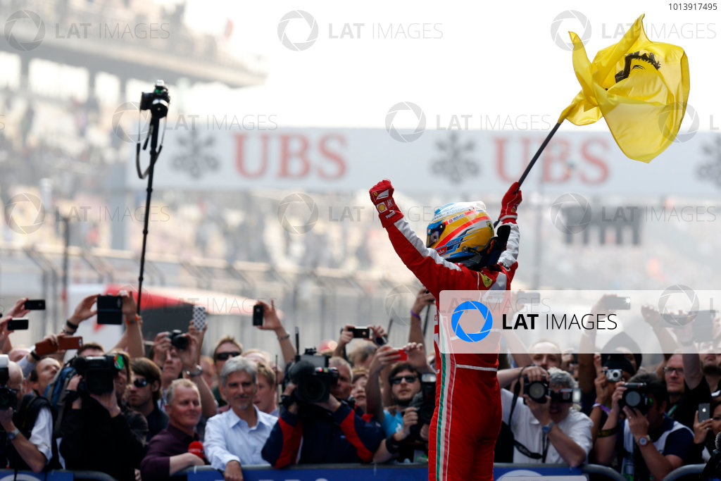 Shanghai International Circuit, Shanghai, China Sunday 14th April 2013 Fernando Alonso, Ferrari, 1st position, celebrate victory on arrival in Parc Ferme. World Copyright: Alastair Staley/LAT Photographic ref: Digital Image _R6T2400
