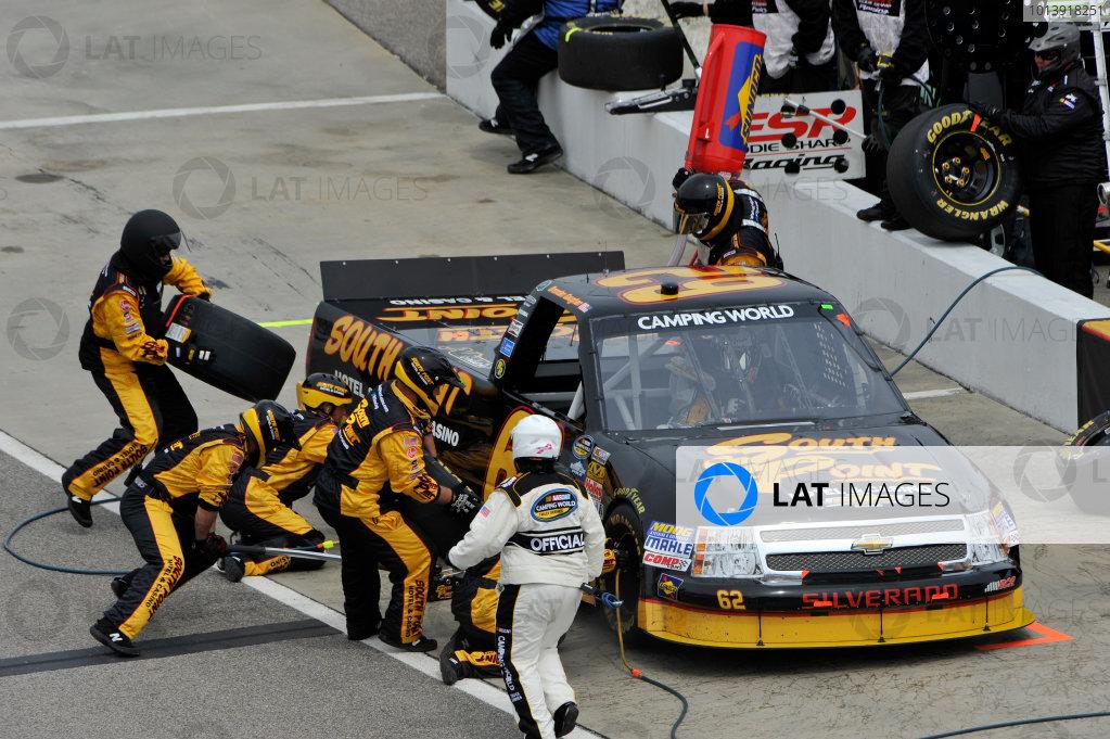 13-14 April, 2013, Rockingham, North Carolina USA Brendan Gaughan, pit stop ©2013, Scott R LePage LAT Photo USA