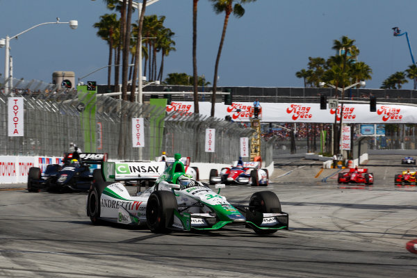 11-13 April, 2014, Long Beach, California USA Carlos Munoz leads Oriol Servia, Carlos Huerta and Takuma Sato ©2014, Phillip Abbott LAT Photo USA