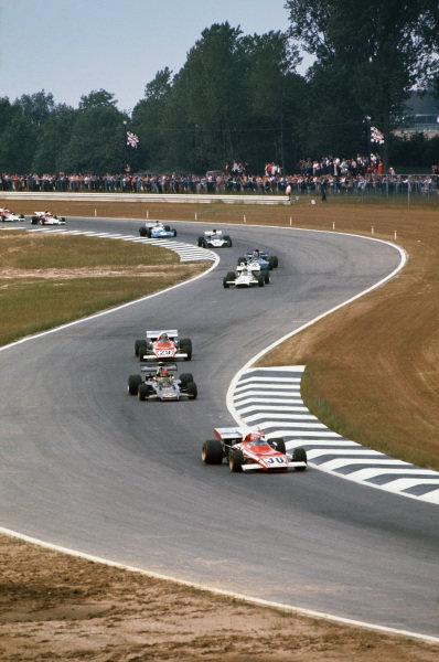1972 Belgian Grand Prix.  Nivelles-Baulers, Belgium. 2-4th June 1972.  Clay Regazzoni, Ferrari 312B2, leads Emerson Fittipaldi, Lotus 72D Ford, Jacky Ickx, Ferrari 312B2, Denny Hulme, McLaren M19C Ford, François Cevert, Tyrrell 002 Ford, Mike Hailwood, Surtees TS9B Ford, Chris Amon, Matra MS120C, Jean-Pierre Beltoise, BRM P160B, and Howden Ganley, BRM P160B.  Ref: 72BEL19. World Copyright: LAT Photographic