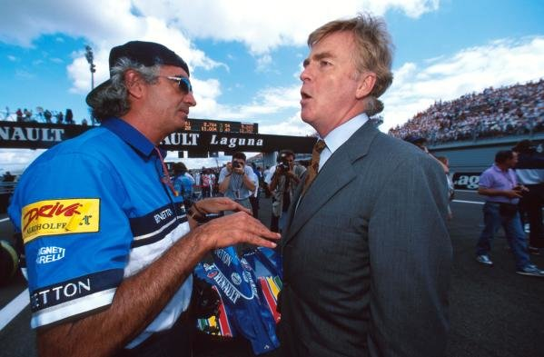 FIA President Max Mosley, right, talks with Flavio Briatore. French Grand Prix, Magny Cours, 2nd July 1995