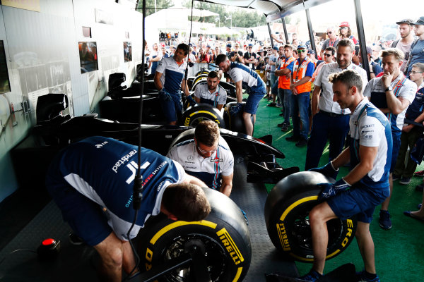 Red Bull Ring, Spielberg, Austria. Saturday 08 July 2017. The Pit Stop Challenge in the F1 fan village. World Copyright: Glenn Dunbar/LAT Images ref: Digital Image _31I6916