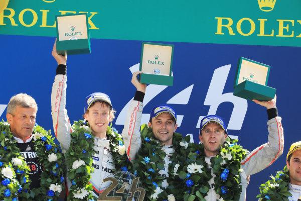 2017 Le Mans 24 Hours Circuit de la Sarthe, Le Mans, France. Sunday 18 June 2017 Podium: race winners Timo Bernhard, Earl Bamber, Brendon Hartley, Porsche Team World Copyright: Nikolaz Godet/LAT Images ref: Digital Image 24LM-re-16999