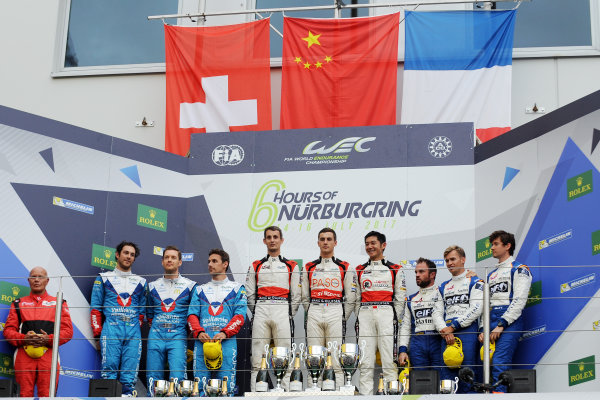 2017 World Endurance Championship, Nurburgring, Germany. 14th-16th July 2017 P2 Podium, #31 Vaillante Rebellion ORECA 07-Gibson: Albuquerque F, Julien Canal, Bruno Senna , #38 Jackie Chan DC Racing ORECA 07-Gibson: Ho-Pin Tung, Thomas Laurent, Oliver Jarvis and #36 Signatech Alpine Matmut Alpine A470-Gibson: Nicolas Lapierre, Gustavo Menezes, Matthew Rao  World copyright. JEP/LAT Images