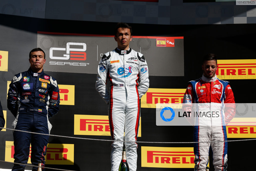 2016 GP3 Series Round 1 Circuit de Catalunya, Barcelona, Spain. Sunday 15 May 2016. Alexander Albon (THA, ART Grand Prix), Oscar Tunjo (COL, Jenzer Motorsport) & Antonio Fuoco (ITA, Trident)  Photo: Sam Bloxham/GP3 Series Media Service. ref: Digital Image _R6T9456