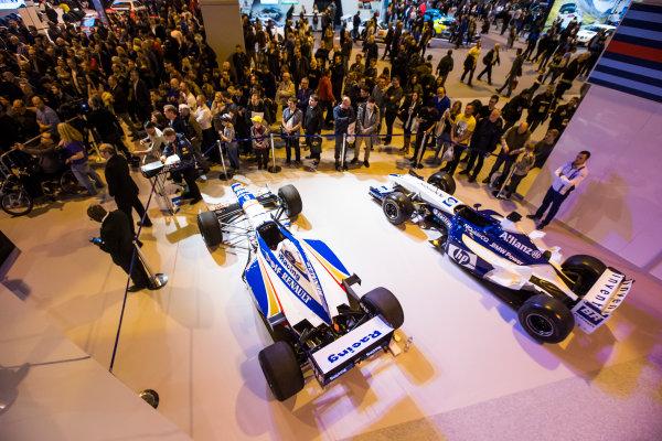 Autosport International Exhibition. National Exhibition Centre, Birmingham, UK. Sunday 15 January 2017. Jacques Villeneuve is interviewed on the Autosport stage Photo: Sam Bloxham/LAT Photographic ref: Digital Image _SLB5180
